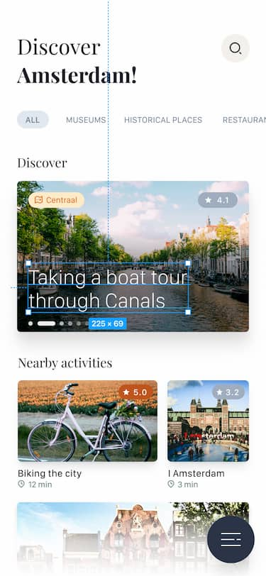 Travel app UI being inspected by Speedboat panel